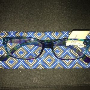 NEW Blue Plaid Reading Glasses w/ case 1.50